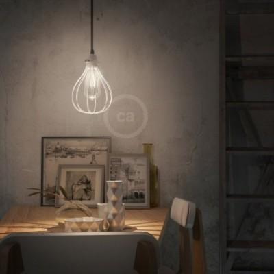 Pendelleuchte mit Textilkabel, tropfenförmiger Lampenschirmkäfig und Metall-Zubehör - Hergestellt in Italien