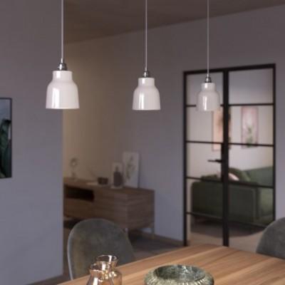 Pendelleuchte mit Textilkabel, vasenförmigem Lampenschirm aus Keramik und Metall-Zubehör - Hergestellt in Italien