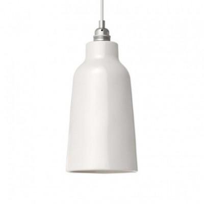 Pendelleuchte mit Textilkabel, flaschenförmigem Lampenschirm aus Keramik und Metall-Zubehör - Hergestellt in Italien