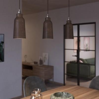 Suspension avec câble textile, abat-jour Bouteille en céramique et finition en métal - Made in Italy