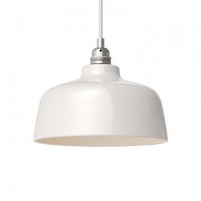 Pendelleuchte mit Textilkabel, tassenförmigem Lampenschirm aus Keramik und Metall-Zubehör - Hergestellt in Italien