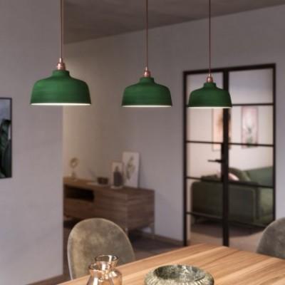 Lampada a sospensione con cavo tessile, paralume Coppa in ceramica e finiture in metallo - Made in Italy