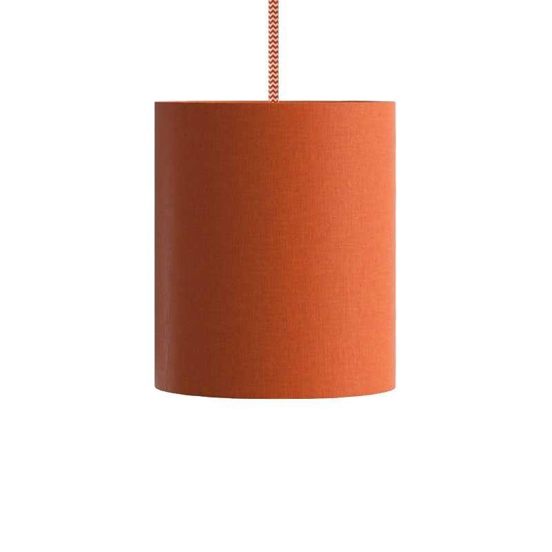 Suspension avec câble textile, abat-jour Cilindro en tissu et finition en métal - Made in Italy