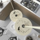 Suspension avec câble textile, abat-jour UFO en bois double face et finition en métal - Made in Italy
