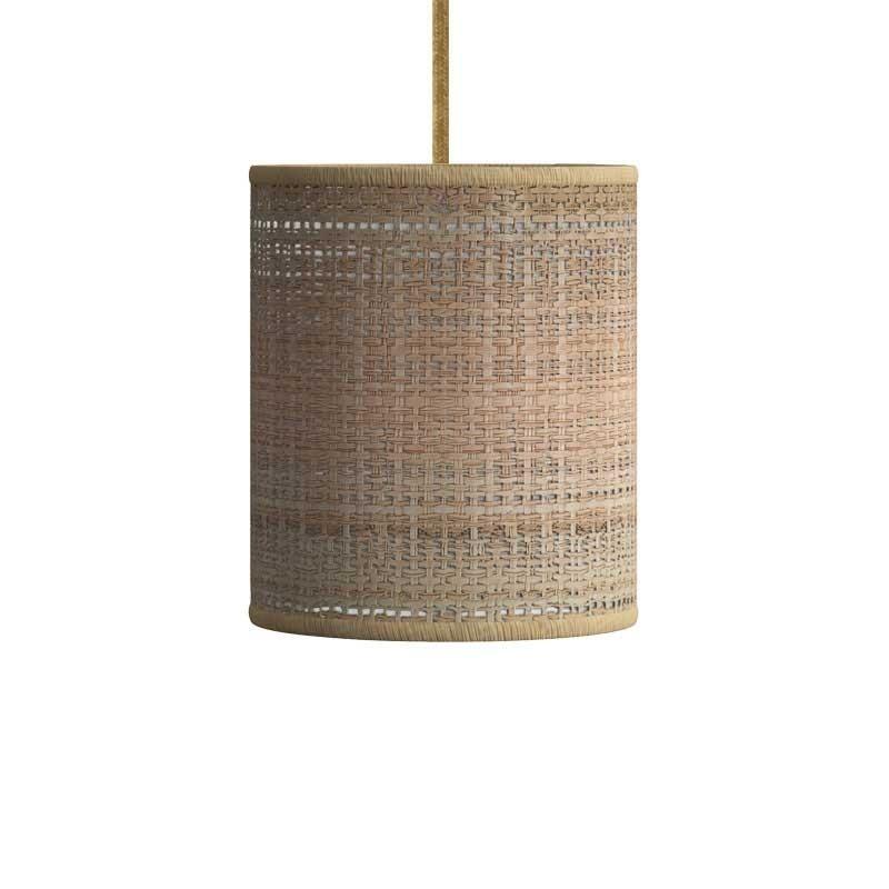Suspension avec câble textile, abat-jour Cylindre et finition en métal - Made in Italy