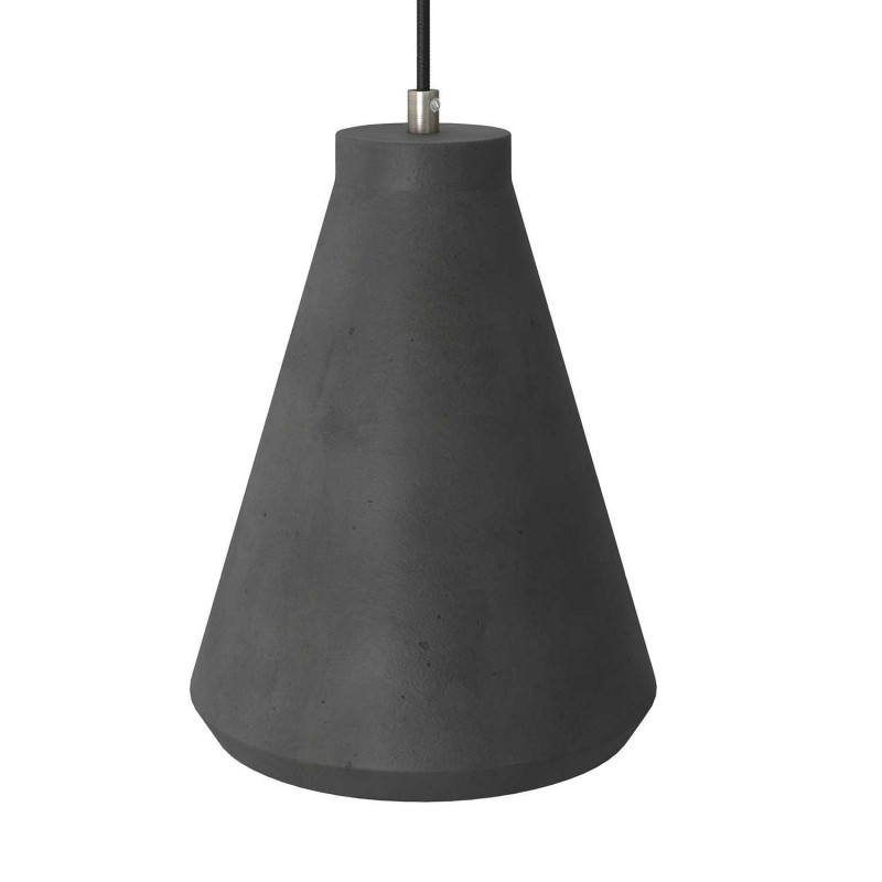 Suspension avec câble textile, abat-jour Entennoir en ciment et finition en métal - Made in Italy