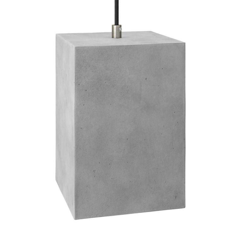 Suspension avec câble textile, abat-jour Cube en ciment et finition en métal - Made in Italy