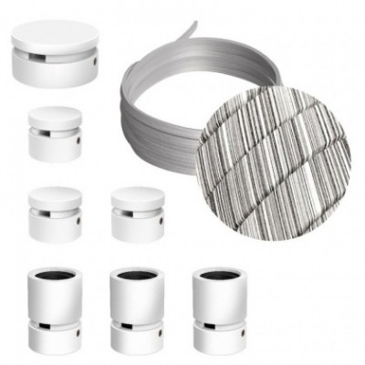 Kit Linear Filé system - avec câbles pour guirlande lumineuse de 5 mètres et 7 composants en bois verni blanc pour intérieur