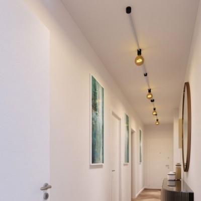 Kit Symmetric Filé system - avec câbles pour guirlande lumineuse de 5 mètres et 9 composants en bois verni noir pour intérieur