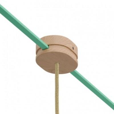 Rosone ovale in legno con un foro centrale e 2 fori laterali per cavo per catenaria e sistema Filé. Made in Italy