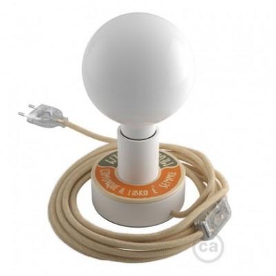 Lampe Posaluce MINI-UFO en bois double face PALLE DA LETTURA, avec câble textile, interrupteur et prise bipolaire