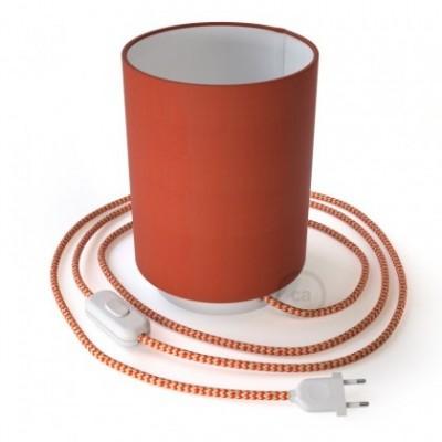 Posaluce in metallo con paralume Cilindro Cinette Aragosta, completo di cavo tessile, interruttore e spina a 2 poli