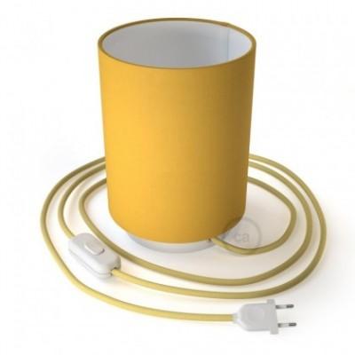 Lampe Posaluce en métal avec abat-jour Cilindro jaune vif, fournie avec câble textile, interrupteur et prise bipolaire