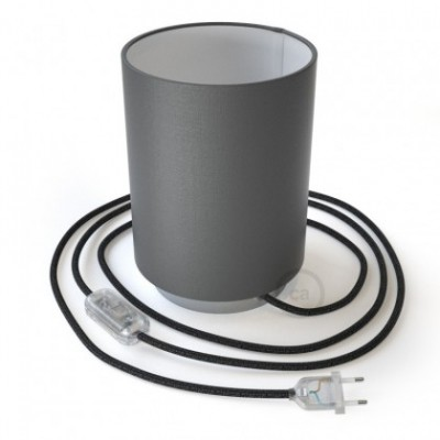 Posaluce in metallo con paralume Cilindro Electra Pinguino, completo di cavo tessile, interruttore e spina a 2 poli