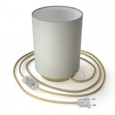 Posaluce in metallo con paralume Cilindro Linone Bianco, completo di cavo tessile, interruttore e spina a 2 poli