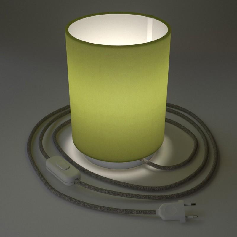 Lampe Posaluce en métal avec abat-jour Cilindro Vert Olive, fournie avec câble textile, interrupteur et prise bipolaire