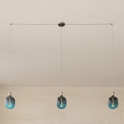 Spider - Lampada a sospensione multipla a 3 cadute Made in Italy completa di cavo tessile e finiture in metallo