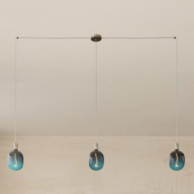 Spider - Lampe suspension multiple 3 bras Made in Italy avec câble textile et finitions en métal