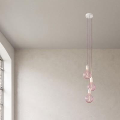 Lampe suspension multiple 3 bras avec câble textile et finitions en métal