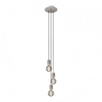 Lampada a sospensione a 3 cadute con Rose-One rotondo 200 mm completa di cavo tessile e finiture in cemento