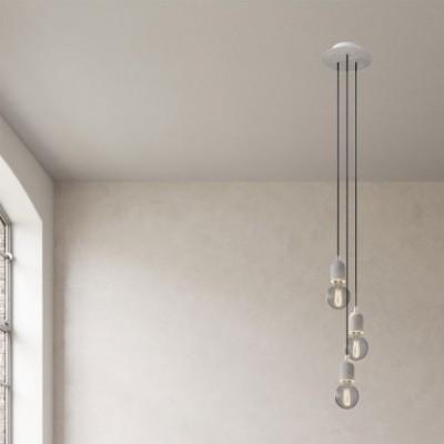 Lampe suspension multiple 3 bras avec Rose-One rond 200 mm, câble textile et finitions en béton