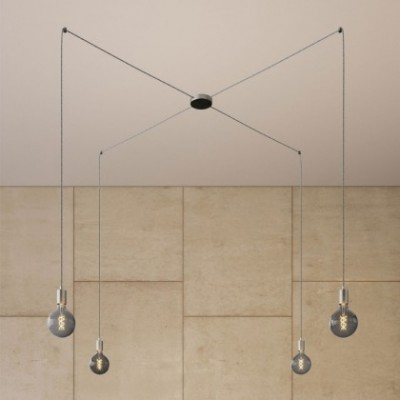 Spider - Lampe suspension multiple 4 bras Made in Italy avec câble textile et finitions en métal