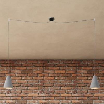 Spider- Pendelleuchte mit Mehrfachaufhängung mit 2 Ausgängen Made in Italy, komplett mit Textilkabel und Lampenschirm aus Zement