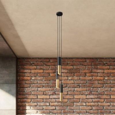 Lampe suspension multiple 3 bras avec câble textile et abat-jour en métal Double Tub-E14