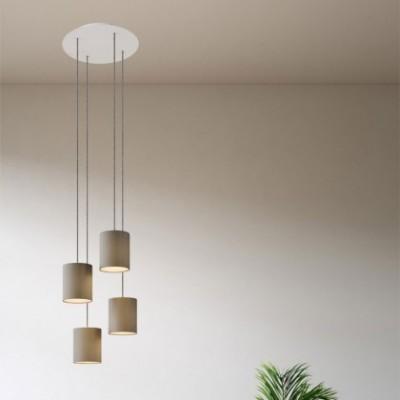 Lampe suspension 4 bras avec Rose-One XXL rond 400 mm avec câble textile et abat-jour en tissu Cylindre