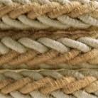 Cordon tressé en jute et lin naturel gris 2XL, câble électrique 2x0,75. Diamètre 24mm