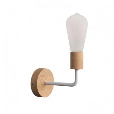 Fermaluce Wood, lampada a muro in legno con estensione curva