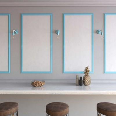 Fermaluce Color, lampada a muro in metallo e porcellana con estensione curva