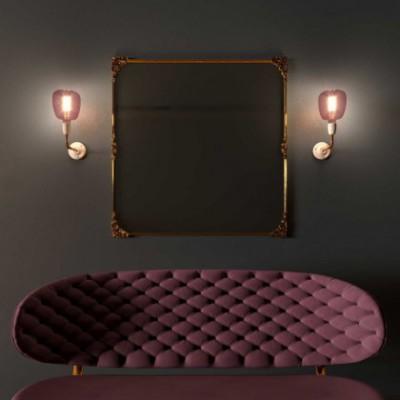 Fermaluce Classic, lampada a muro in metallo e porcellana con estensione curva