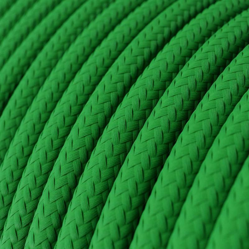 Fil Électrique Rond Gaine De Tissu De Couleur Effet Soie Tissu Uni Vert RM06