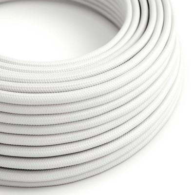 Elektrisches Kabel rund überzogen mit Textil-Seideneffekt Einfarbig Weiß RM01