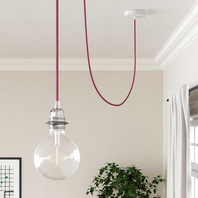 Elektrisches Kabel rund überzogen mit Textil-Seideneffekt Einfarbig Fuchsia RM08