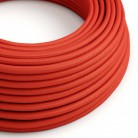 Elektrisches Kabel rund überzogen mit Textil-Seideneffekt Einfarbig Rot RM09
