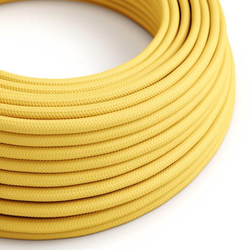 Elektrisches Kabel rund überzogen mit Textil-Seideneffekt Einfarbig Gelb RM10