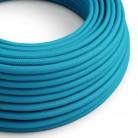 Elektrisches Kabel rund überzogen mit Textil-Seideneffekt Einfarbig Cyanblau RM11