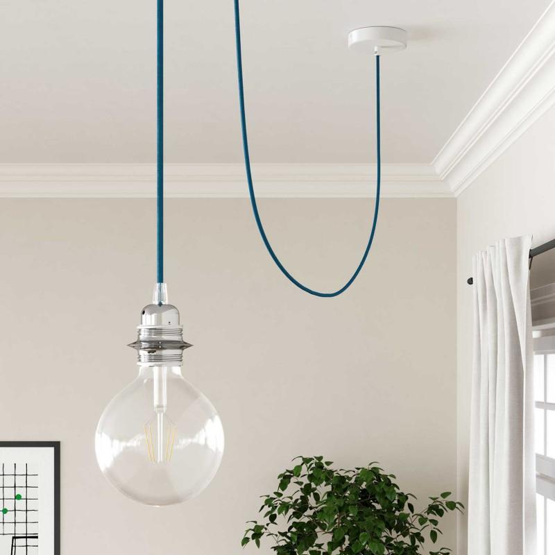 Elektrisches Kabel rund überzogen mit Textil-Seideneffekt Einfarbig Türkis RM11