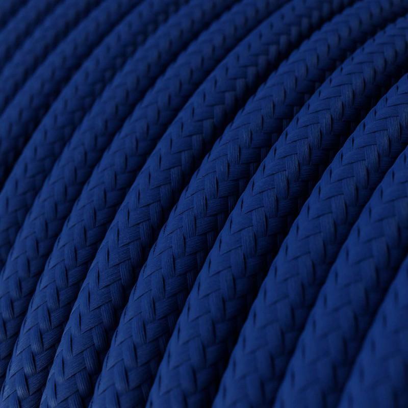 Elektrisches Kabel rund überzogen mit Textil-Seideneffekt Einfarbig Blau RM12