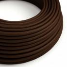 Elektrisches Kabel rund überzogen mit Textil-Seideneffekt Einfarbig Braun RM13