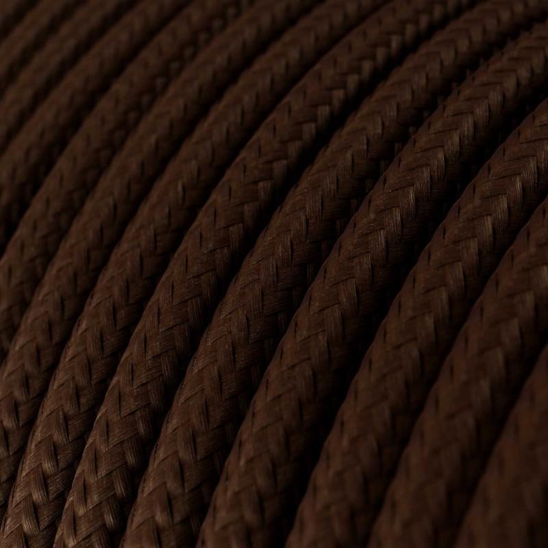 Cavo Elettrico rotondo rivestito in tessuto effetto Seta Tinta Unita Marrone RM13