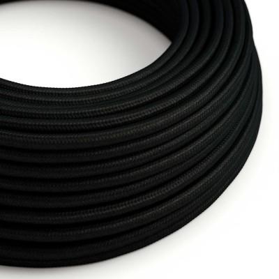 Elektrisches Kabel rund überzogen mit Textil-Seideneffekt Einfarbig Schwarz RM04