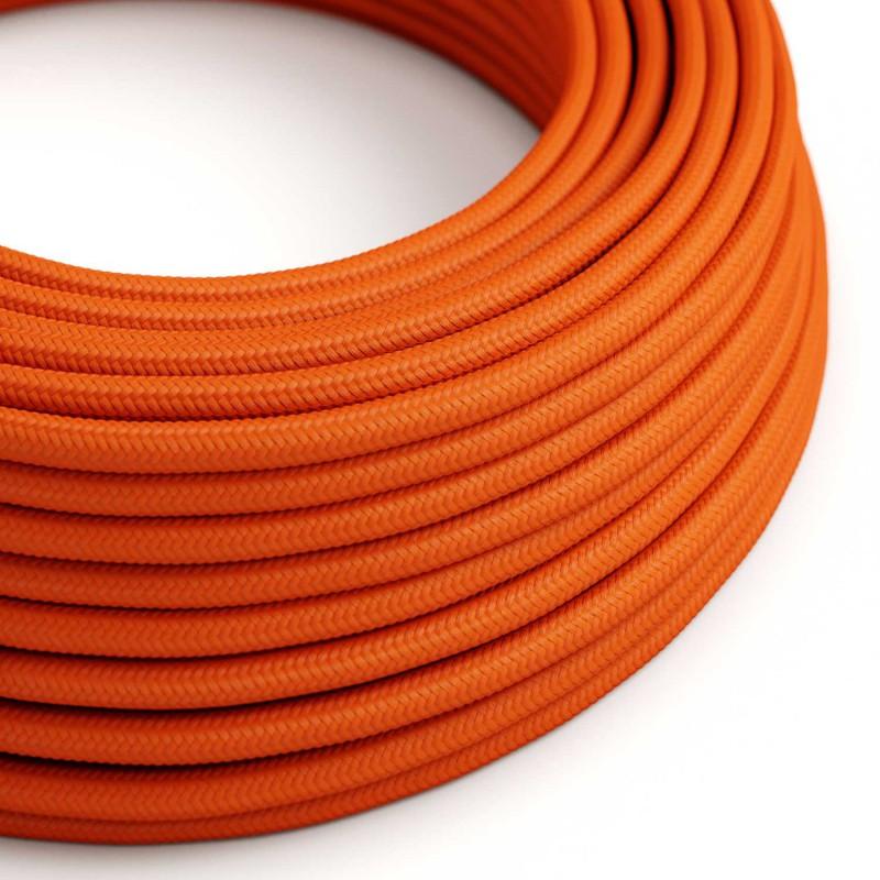 Fil Électrique Rond Gaine De Tissu De Couleur Effet Soie Tissu Uni Orange RM15
