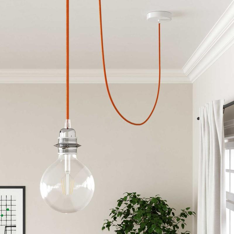 Elektrisches Kabel rund überzogen mit Textil-Seideneffekt Einfarbig Orange RM15