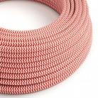 Elektrisches Kabel rund überzogen mit Textil-Seideneffekt Zick-Zack Rot RZ09