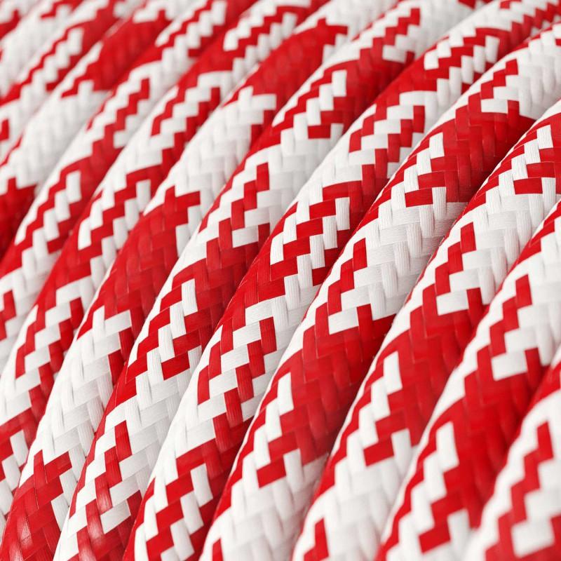 Cavo Elettrico rotondo rivestito in tessuto effetto Seta Bicolore Rosso RP09