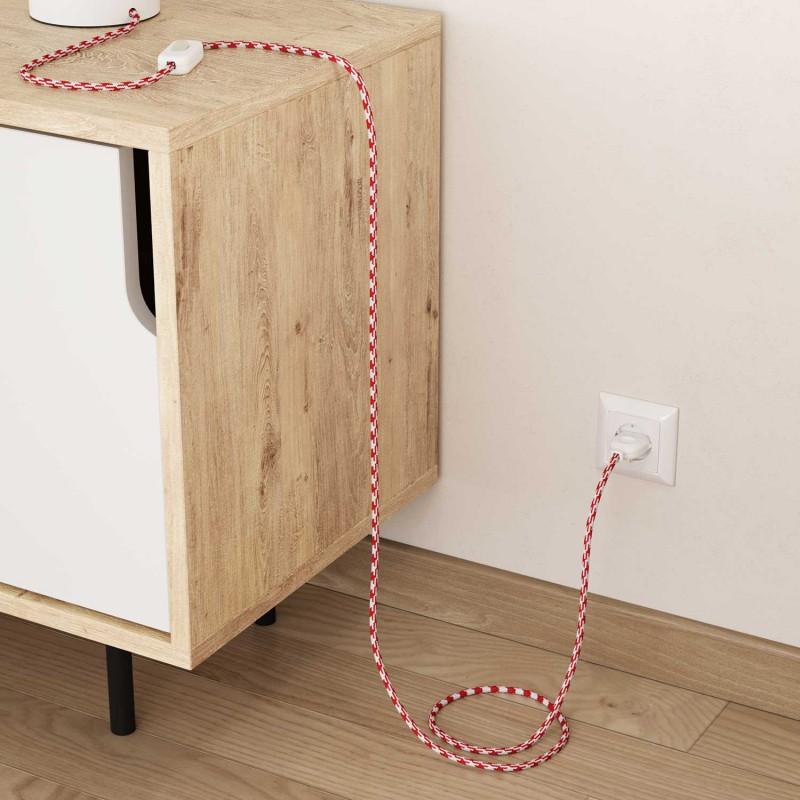 Elektrisches Kabel rund überzogen mit Textil-Seideneffekt Bifarbig Rot RP09