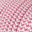 Elektrisches Kabel rund überzogen mit Textil-Seideneffekt Zick-Zack Fuchsia RZ08
